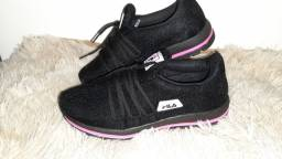 Tênis Fila Trend rosa preto n° 34 35 36 37 38 39