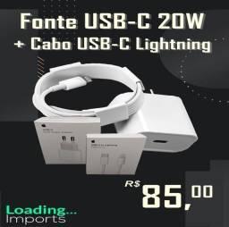 Carregador iPhone Cabo Lightning 1m Fonte Tipo c 18w Turbo
