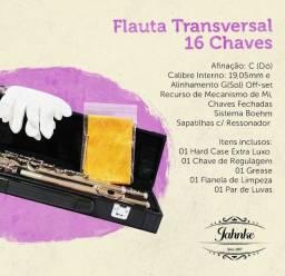 FLAUTA TRANSVERSAL (Dó) 16 CHAVES FECHADAS JFL001-NQ