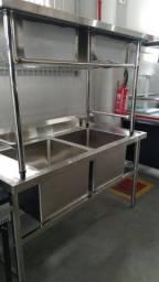 Pia para cozinha industrial em inox - Duas Cubas - Pronta Entrega *Gabriela