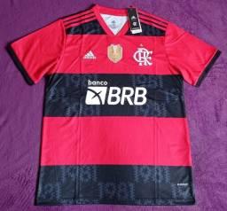 Camisa do Flamengo patch de campeão e BRB (disponível: GG)