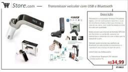 Receptor e transmissor USB / Bluetooth veicular.