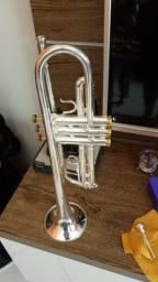 Trompete prata com partes dourada