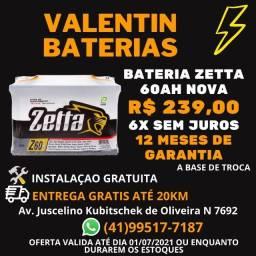 Bateria nova60ah Zetta -6X Sem juros-Entrega gratis-Ficamos no CIC-