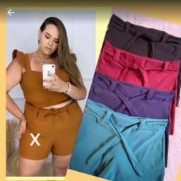 Short plus size em bengaline veste do 48 ao 54