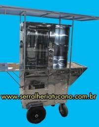 Maquina de churrasco grego com toldo e rodas giratorias