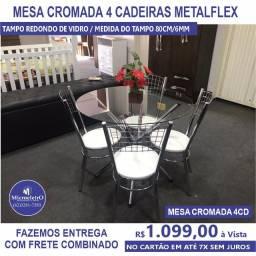 Mesa Cromada 4 Cadeiras Vidro Redondo acento branco