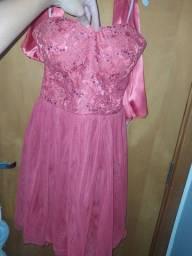 Vestido de festa salmao