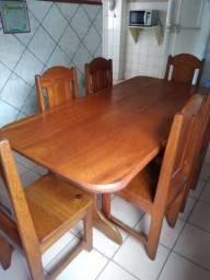 Mesa com 6 cadeiras (Mogno)- Negocio o valor.