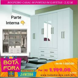 BOTA FORA JANEIRO - GUARDA ROUPA 8 PORTAS 4 GAVETAS