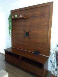Rack + Painel de madeira maciça nobre