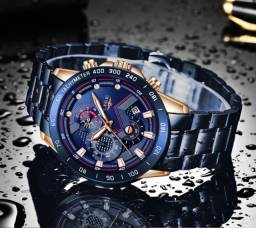 Relógio Masculino de Quartzo Lige   Aço Inoxidável
