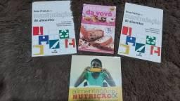 Livros sobre manipulação de alimentos, nutrição e receitas