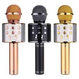 Microfone Karaokê Bluetooth Portátil Aceito Cartão!