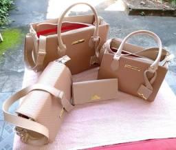 Kit 3 bolsas + 1 carteira feminina