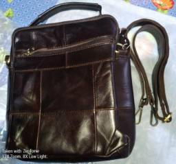 354f92bf23f Bolsa de couro café escuro Masculina