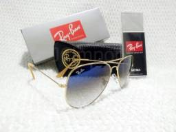 532dc53ec Óculos de Sol Ray Ban Aviador Azul Degradê 3025/3026 Unissex Novo
