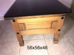 Mesa de centro, 100% madeira, tampo vidro temperado 8mm