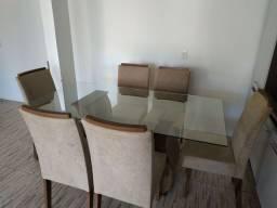 Mesa de vidro 1.70x90 com 6 cadeiras quase nova!