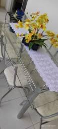 Mesa de 6 lugares de vidro Carraro