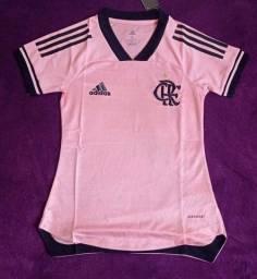 Camisa do Flamengo rosa feminina (disponível: G e GG)