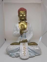 Buda grande Blanco e Dourado de 30centímetros de cumprimento