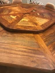 Mesa oitolugares de madeira de demolição