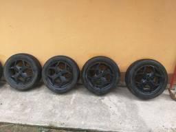Roda Kr k18 Aro 15  4 furos com pneus.