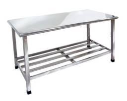 Título do anúncio: . Mesa Inox com Prateleira para Cozinha 1000x700x850 mm