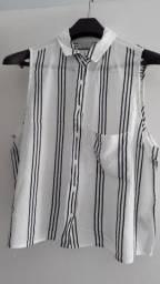 Blusa Viscose Listra Branca, Tamanho M, Super confortável
