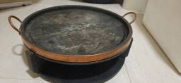 Churrasqueira à álcool, fogareiro com 2 queimadores + grelha curada, 37 cm.