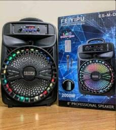 Caixa de Som 2000W Feiyipu Bluetooth Microfone e Controle! ??