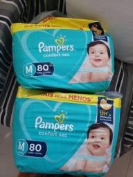 2 packs Fraldas Pampers Confort Sec, M, 80 uni cada