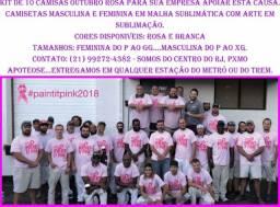 Kit de 10 Camisetas Outubro Rosa para sua Empresa, Loja ou Comércio
