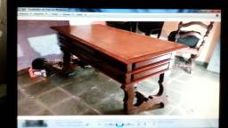 Conjunto Mesa Escrivaninha Antiga