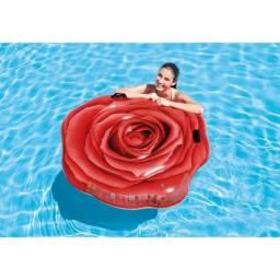 Colchão Boia Inflável Flor Rosa Vermelha - Intex 58783