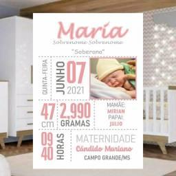 Quadro Placa Decorativa Personalizada Nascimento do Bebê Presente Surpresa