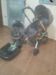 Carrinho de bebê + bebê conforto + base kiddo