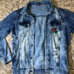 Jaqueta jeans rasgada unisex