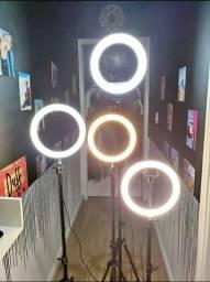 Ring Light com suporte, ideal para maquiagens e fotografias (Lojas WiKi)