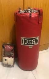 Saco de Pancada (Punch) de 50cm em ótimo estado + Luva + Ataduras
