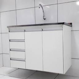 Gabinete para balcão de cozinha em MDF naval