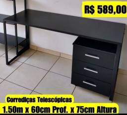Mesa Industrial Nova com gaveteiro 1.50m x 60 cm - Entrego e Monto