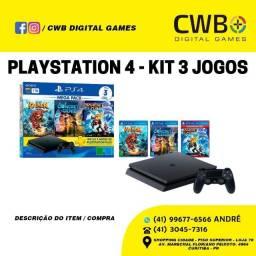 Playstation 4 1TB Kit 03 Jogos. Novo 1 ano de Garantia