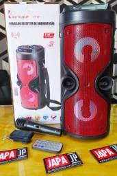 Caixa de Som Portátil + Microfone - Potente