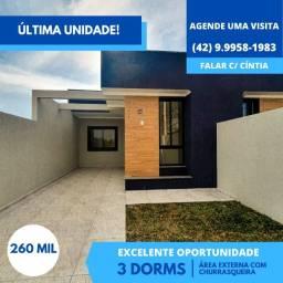 Casa de 3 dormitórios com 71m² à venda em Ponta Grossa.