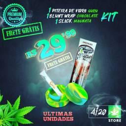 Kit Piteira de Vidro / Slick de silicone 5ML / Blunt Wrap