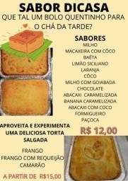 Deliciosos bolos e Tortas salgadas  R$ 12,00