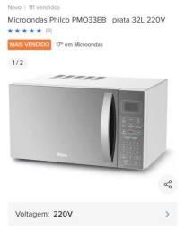 Microondas 220v cor prata 32L nunca usado