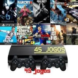 Ps3 - video game -Console Playstation 3 Super Slim + 45 Jogos Digitais Origina